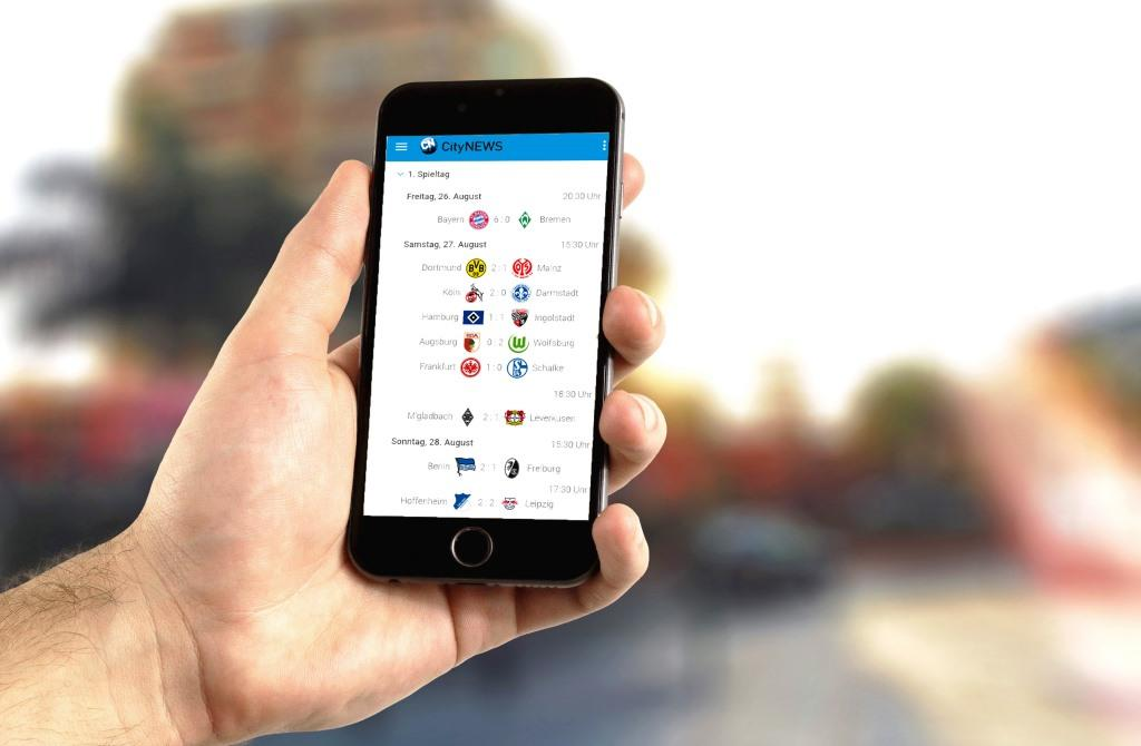Die Fußball-Bundesliga auf dem Smartphone oder Tablet mit der CityNEWS Mobile App
