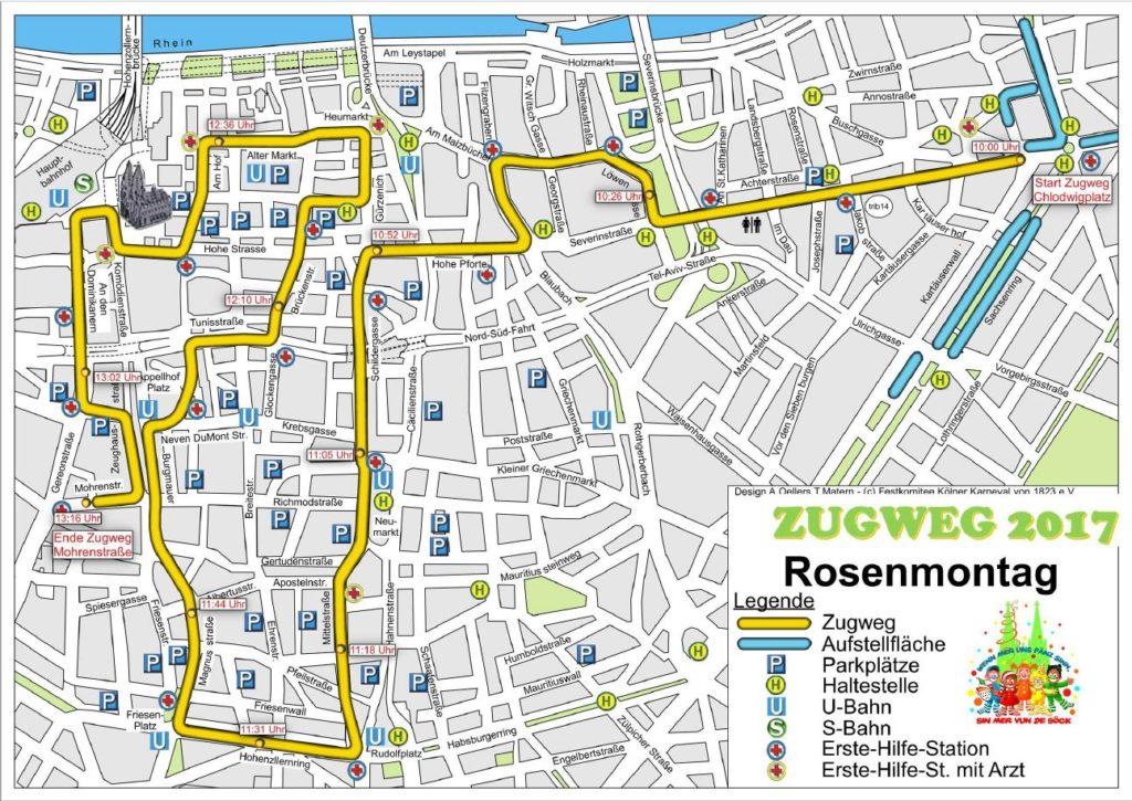 Hier die detaillierte Karte zur Weg-Strecke des Rosenmontagszug 2017 in Köln downloaden - copyright: Festkomitee des Kölner Karnevals von 1823 e.V.