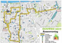Hier die detaillierte Karte zur Weg-Strecke des Rosenmontagszug 2017 in Köln - copyright: Festkomitee des Kölner Karnevals von 1823 e.V.