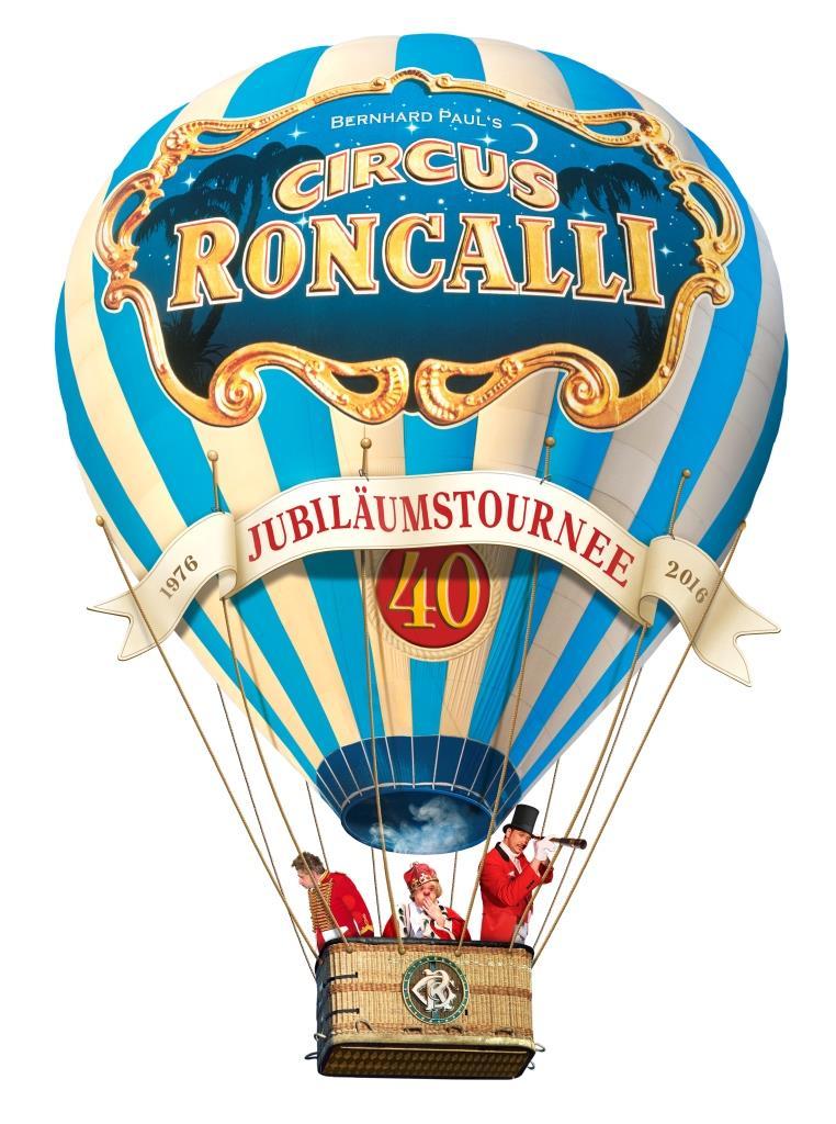 """Nach vier Jahrzehnten Bilderbuchkarriere startet der Circus Roncalli im März 2016 zur großen Jubiläumstournee """"40 Jahre Reise zum Regenbogen"""". copyright: Circus Roncalli"""