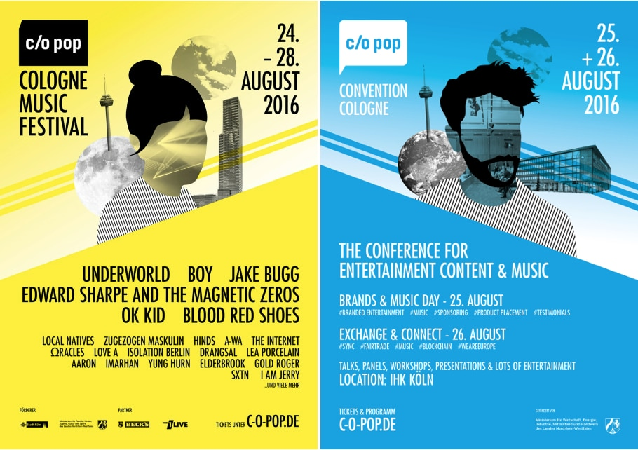 c/o pop Festival & c/o pop Convention 2016 in Köln: Über 80 Bands, Künstler und DJs - auf 30 Bühnen und in Clubs - an fünf Tagen copyright: c/o pop Festival