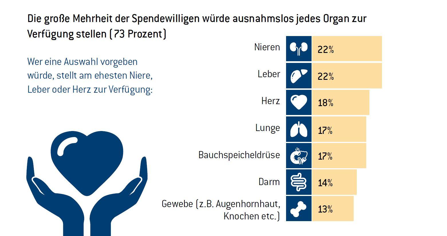 Fast drei von vier Spendewilligen (73 Prozent) würden ausnahmslos alle Organe spenden, 27 Prozent eine Auswahl vorgeben. copyright: pronova BKK