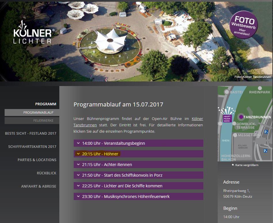Laut Homepage des Veranstalters sollen die HÖHNER um 20:15 Uhr bei den Kölner Lichter 2017 auftreten. copyright: Screenshot www.koelner-lichter.de