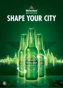 """Mit der aktuellen Kampagne """"SHAPE YOUR CITY"""" ruft Heineken alle Menschen dazu auf, ihre Heimatstädte nach ihren eigenen Wünschen zu verändern und nachhaltig zu prägen."""