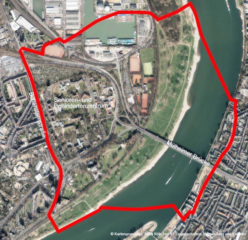 Luftbild mit dem eingezeichneten Evakuierungsraum - copyright: Stadt Köln - Amt für Liegenschaften, Vermessung und Kataster