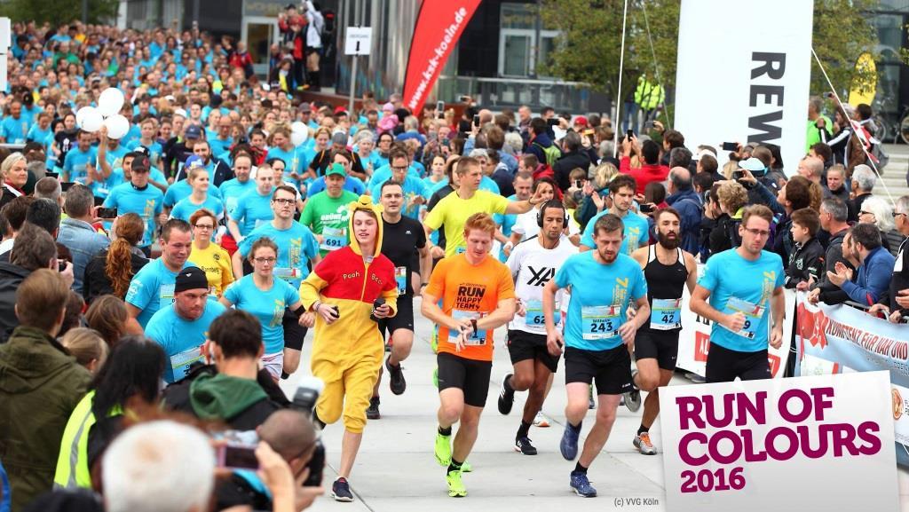 """Motto des Run of Colours 2016: """"Ich lauf´ mir die Füße bunt"""" copyright: VVG Köln"""