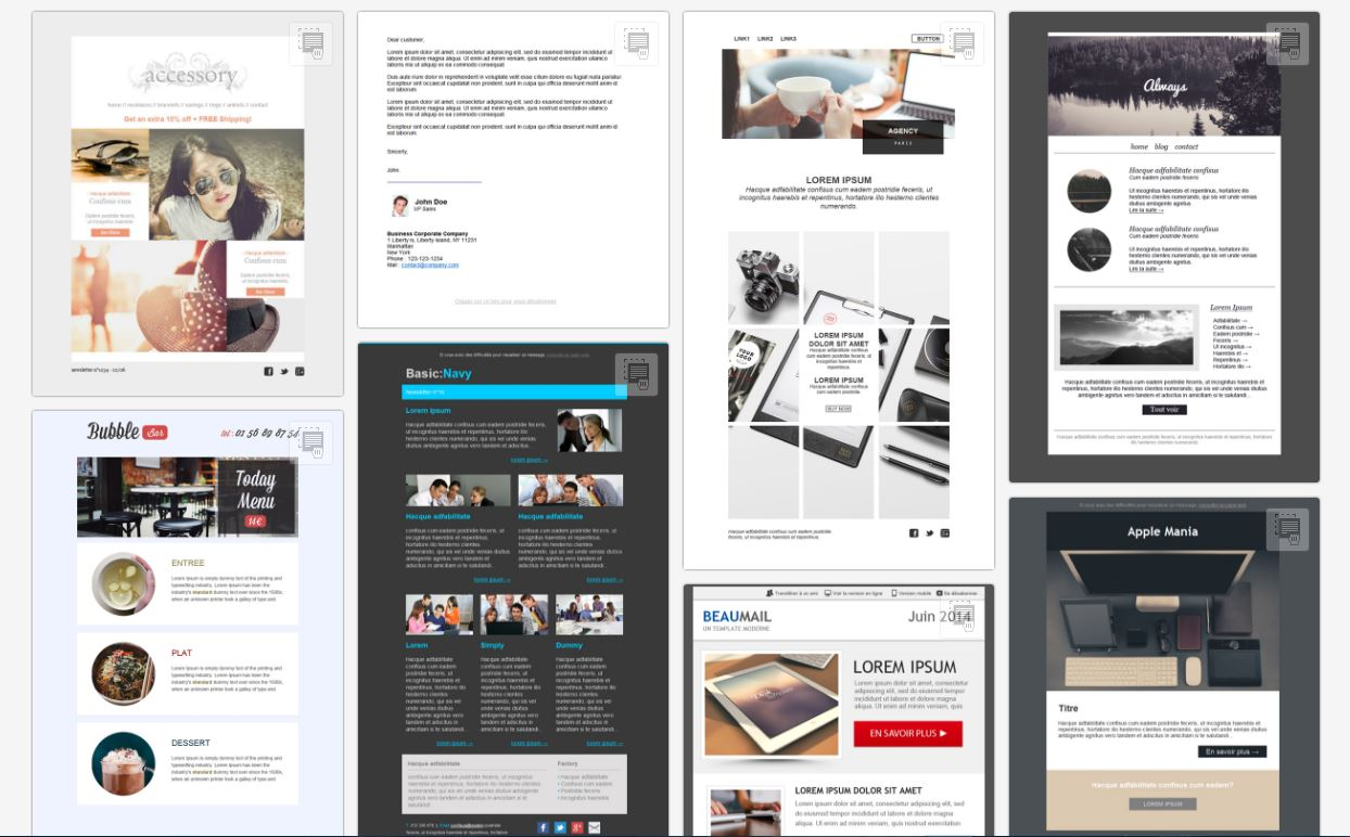 Bei fast 900 komplett modifizierbaren und kostenlosen Newsletter Vorlagen sollte Ihnen die Inspiration für Ihre nächste Kampagne nie fehlen. - copyright: Mailify