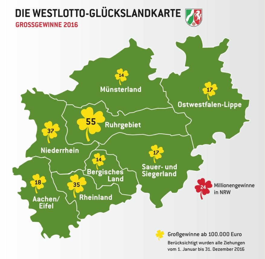 Die Lotto-Glücks-Landkarte - copyright: WestLotto