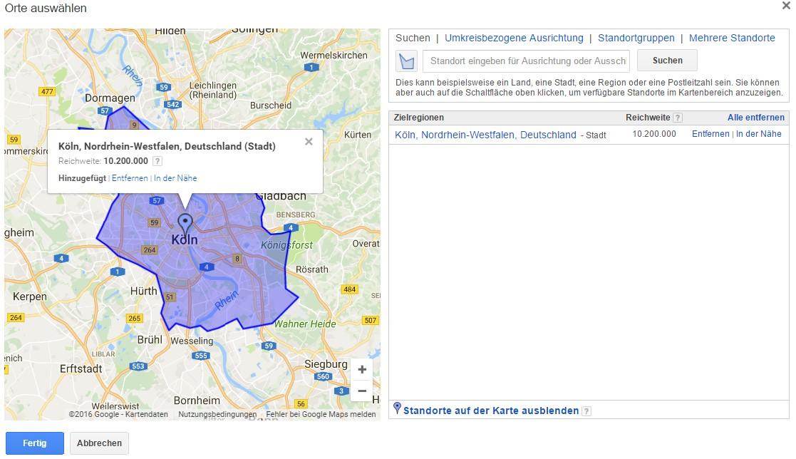 Die richtige geografische Ausrichtung - copyright: Screenshot Google