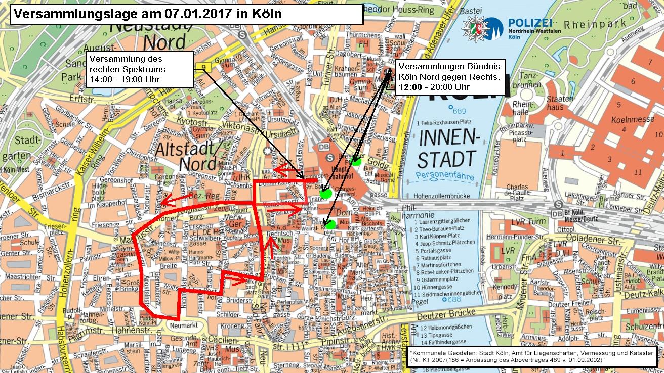 Informationen zu den Demonstrationen und Versammlungen am Samstag (7. Januar 2017) copyright: Polizei Köln