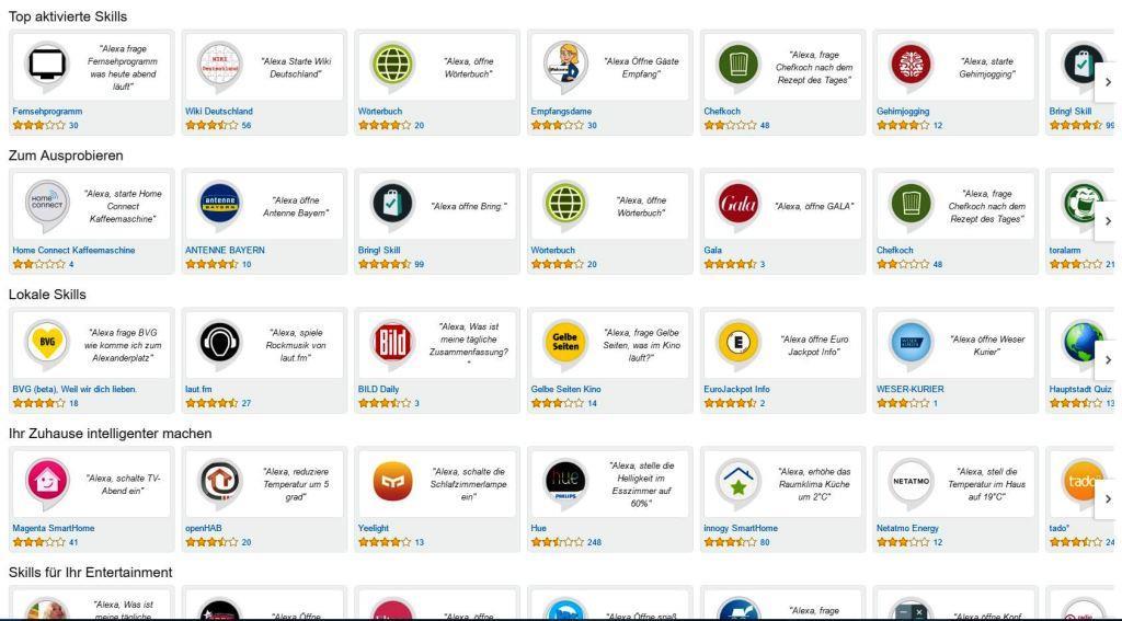 Zahlreihe Skills stehen für Amazon Echo zur Verfügung - copyright: Amazon
