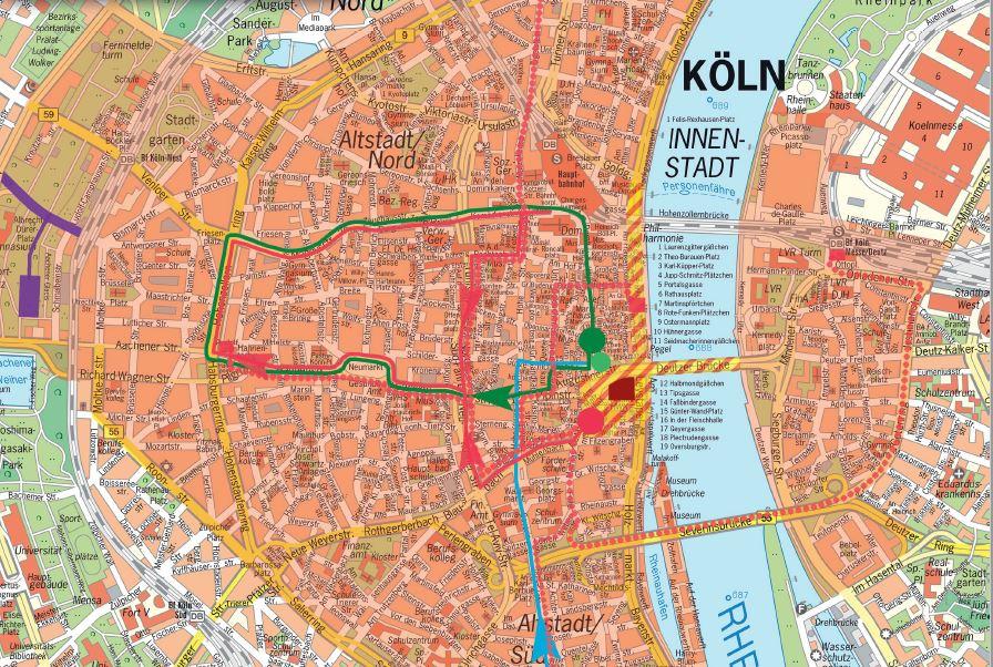 Übersichtskarte Demos und Sperrungen - Klicken zum Öffnen! - copyright: Polizei Köln