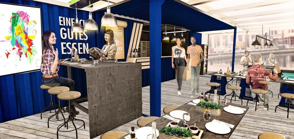 Schiffscontainer auf zwei Etagen im Mediapark Köln - copyright: ALDI SÜD