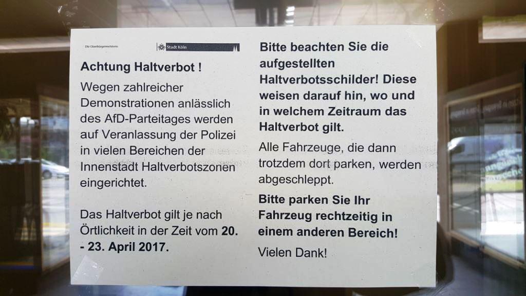Die Stadt Köln hat Anwohner in den betroffenen Gebieten bereits über die Einschränungen für den Verkehr und die Halteverbotszonen informiert. copyright: CityNEWS / Alex Weis