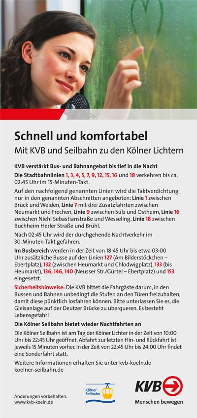 KVB Kölner Lichter 2017 - copyright: KVB
