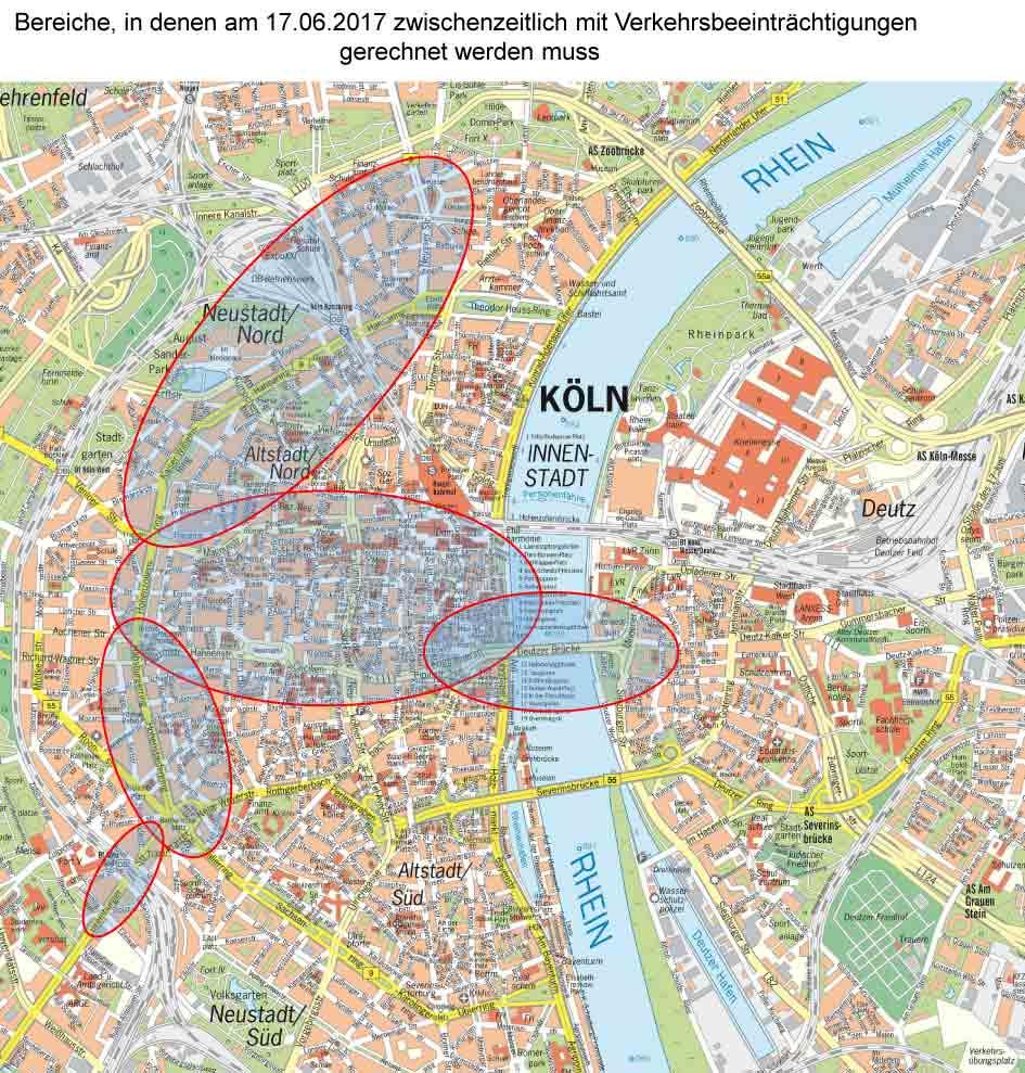 In diesen Bereichen ist mit Verkehrsbehinderungen zu rechnen - copyright: Polizei Köln