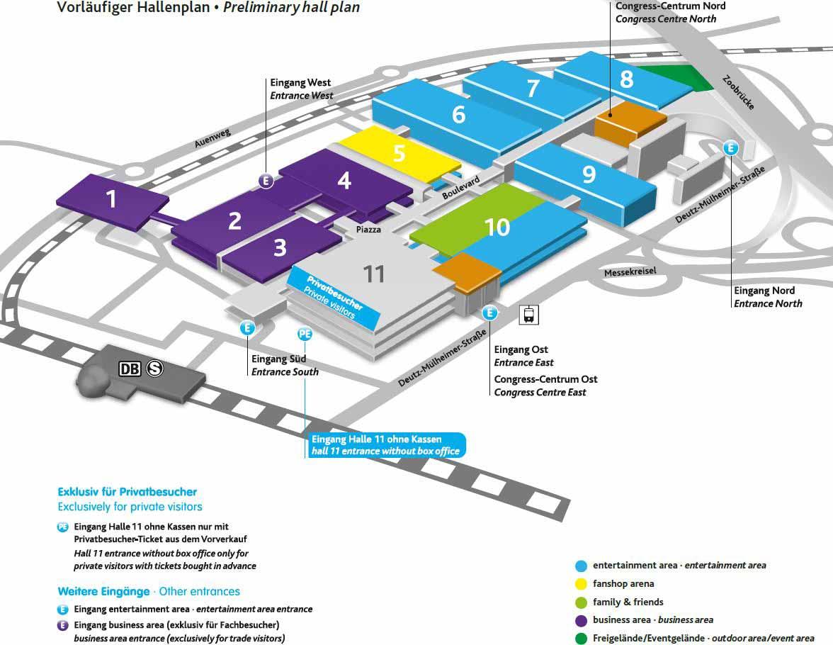 Vorläufiger Hallenplan der gamescom 2017 - copyright: gamescom