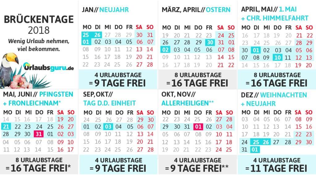 Der Brückentage-Kalender 2018 zum Download - copyright: Urlaubsguru.de