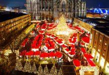Die Besucher erwartet auf dem Weihnachtsmarkt am Kölner Dom ein Lichtermeer. copyright: www.koelnerweihnachtsmarkt.com