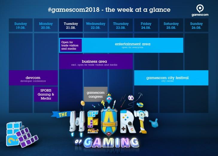 Das Programm zur gamescom 2018 in der Übersicht. copyright: gamescom