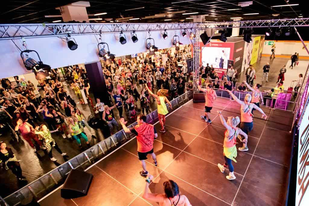 Die FIBO zeigt in ihrem Group Fitness Bereich in der Halle 4.1 die neuesten Trends für jeden Geschmack. copyright: Behrendt und Rausch