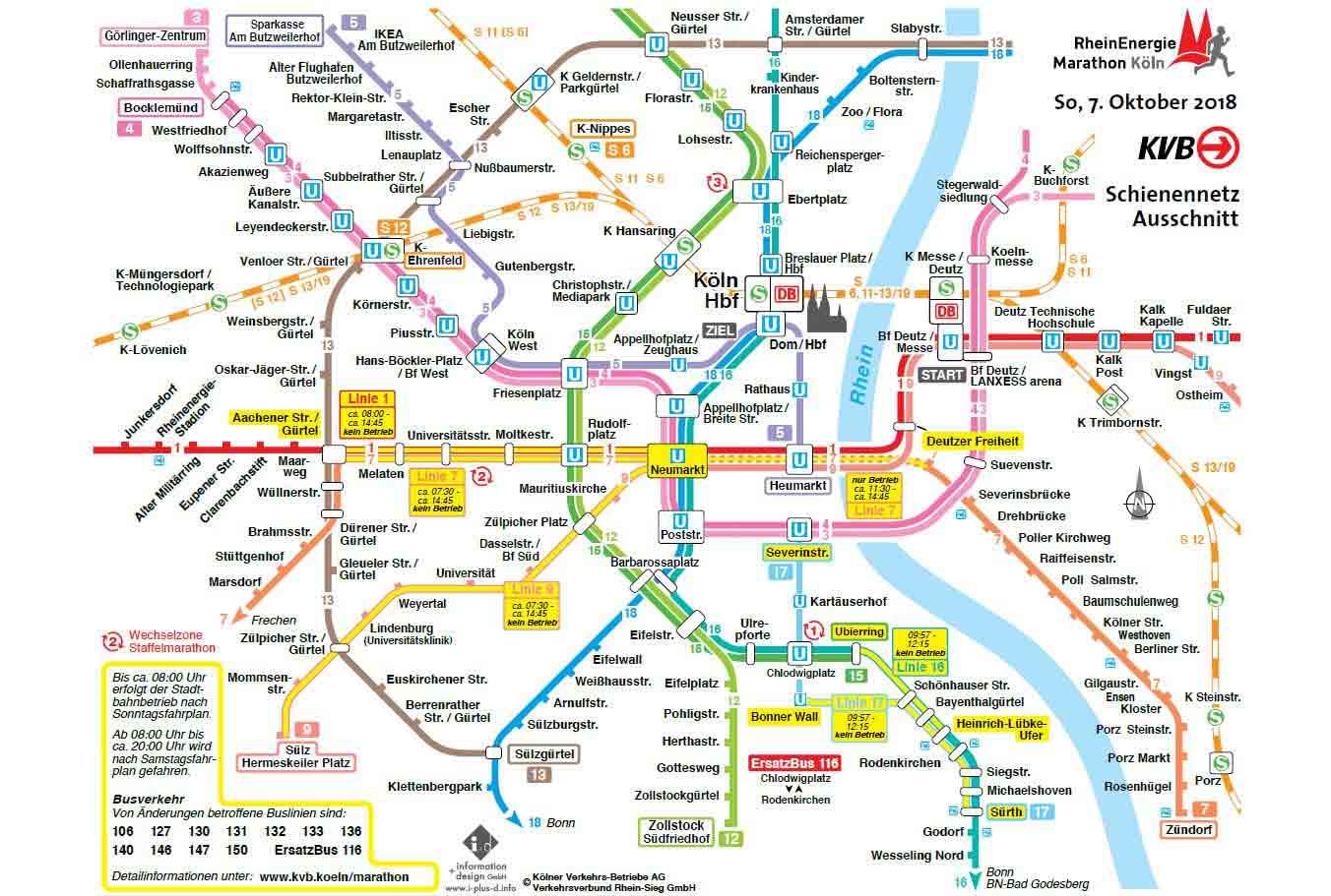 Übersicht der Bus- und Bahn-Linien zum Köln-Marathon 2018 copyright: KVB AG / VRS