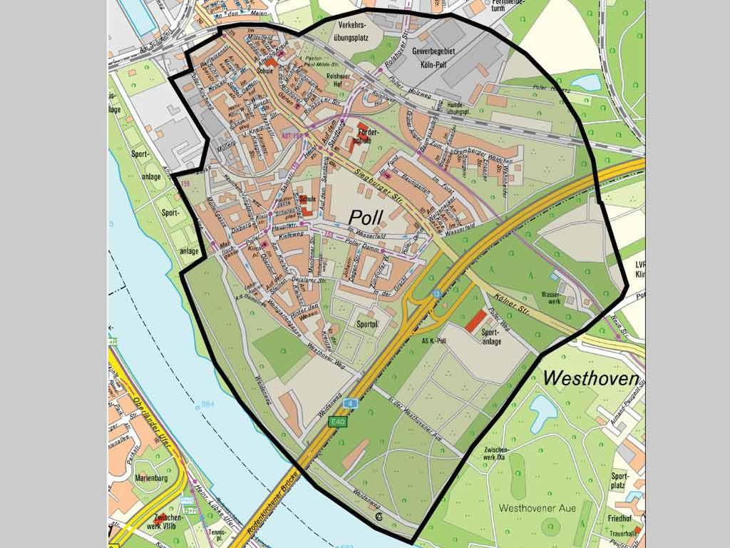 Der festgelegte Evakuierungsradius rund um den Bombenfundort. copyright: Stadt Köln