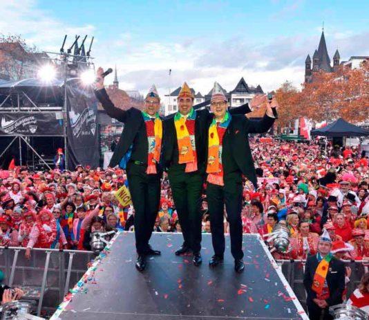 Das neue Kölner Dreigestirn 2019 mit v.l.n.r.: Jungfrau Catharina (Michael Everwand), Prinz Marc I. (Marc Michelske) und Bauer Markus (Markus Meyer) copyright: WDR / INTERTOPICS / Horst Galuschka