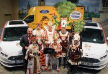 Ford-Werke-Chef Gunnar Herrmann übergibt bei der traditionellen Wagenübergabe Fahrzeuge an das Kölner Dreigestirn. copyright: Ford-Werke GmbH