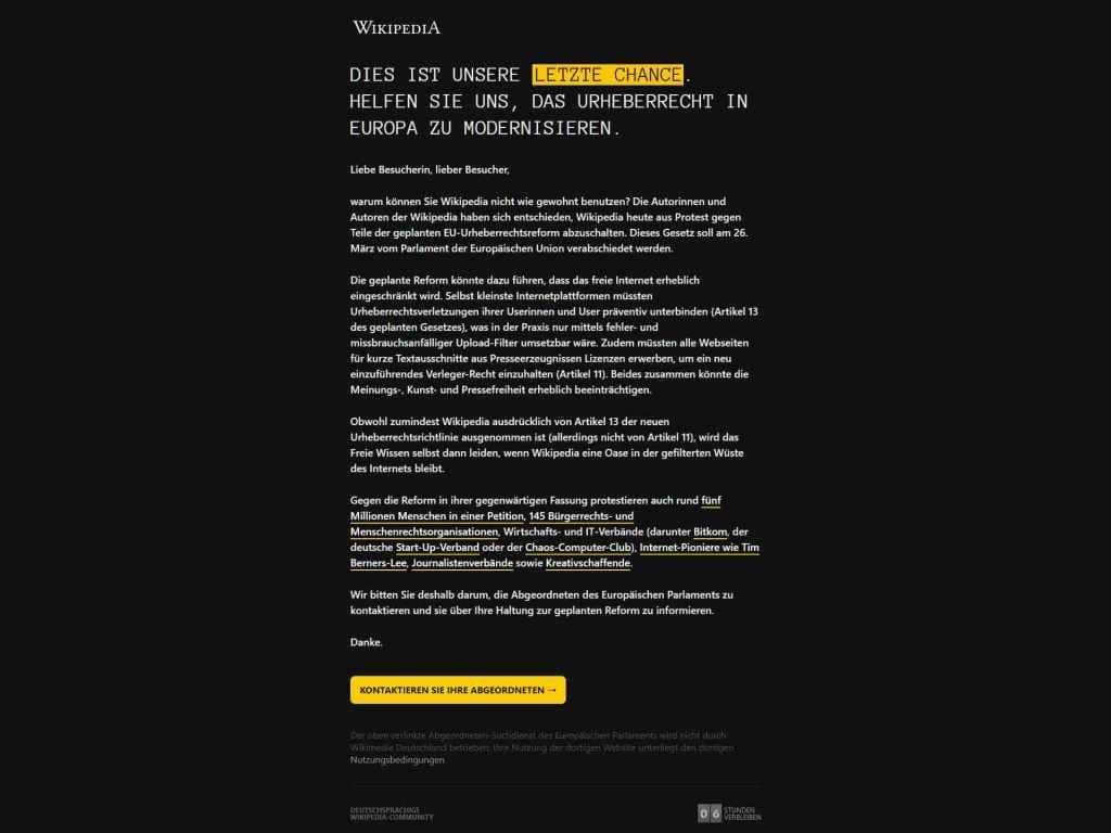 Am 21. März 2019 wurde aus Protest das deutschsprachige Wikipedia-Angebot für 24 Stunden komplett abgeschaltet. copyright: Screenshot Wikipedia