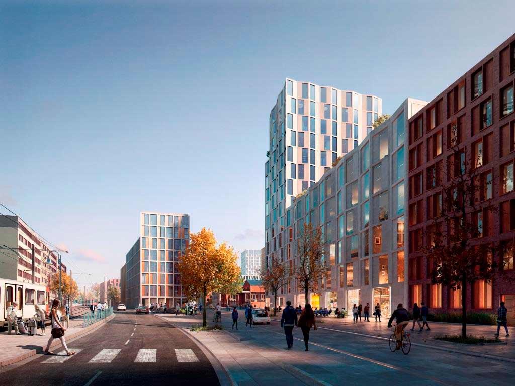 Ein fast 38 Hektar großes Gebiet mit etwa 3.000 neuen Wohnungen für knapp 7.000 Bewohner soll in Köln-Deutz entstehen. copyright: moderne stadt, Köln / Cobe Architect
