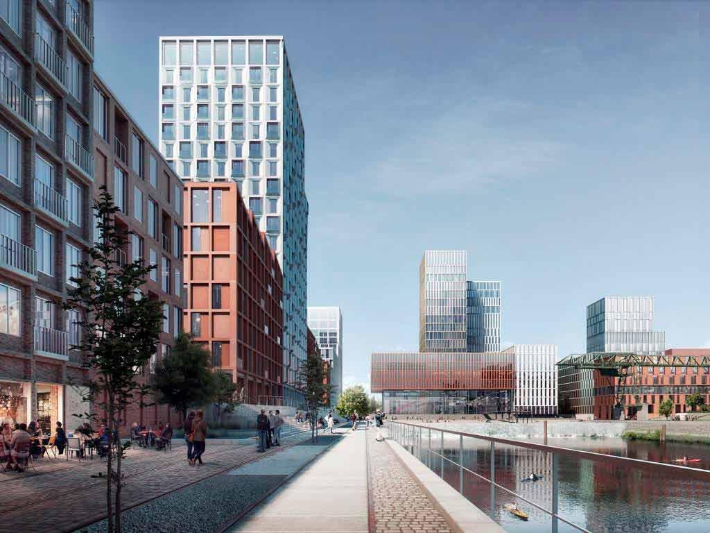 So könnte der Deutzer Hafen in der Zukunft gestaltet sein. Foto: moderne stadt, Köln / Cobe Architect