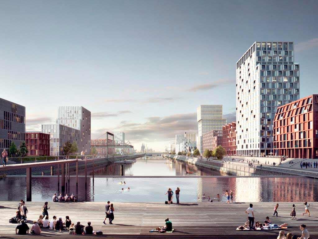 Das Becken als Herzstück des neuen Veedels in Köln-Deutz copyright: moderne stadt, Köln / Cobe Architect