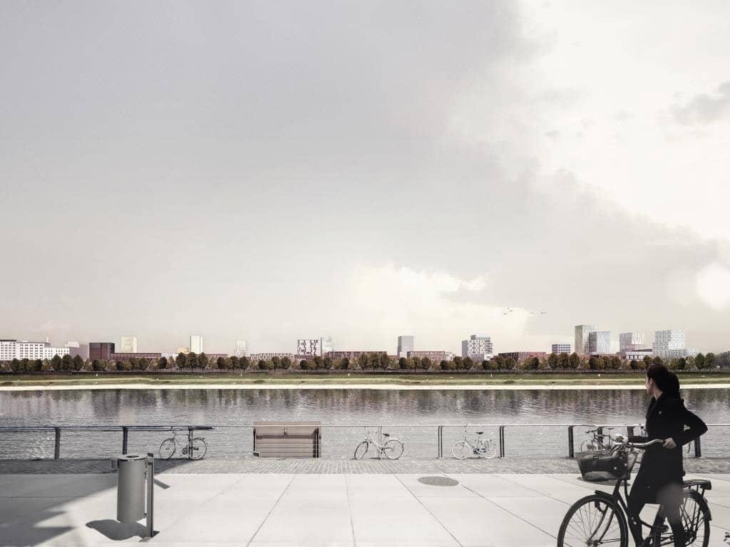 Auf der rechten Rheinseite soll in den kommenden Jahren ein Mix aus Wohnbebauung, Gewerbeflächen sowie Kulturnutzung entstehen. copyright: moderne stadt, Köln / Cobe Architect