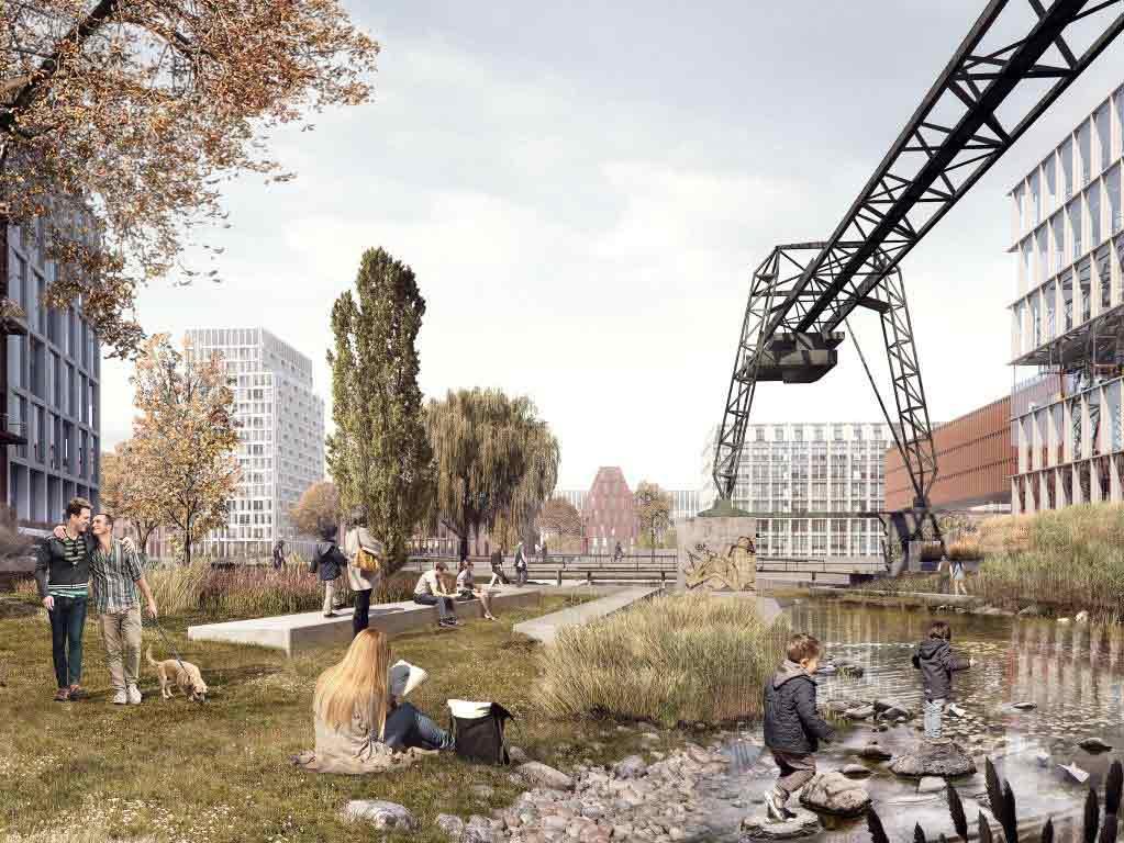 Historische Gebäudesubstanz und das Wechselspiel mit Wasserflächen copyright: moderne stadt, Köln / Cobe Architect