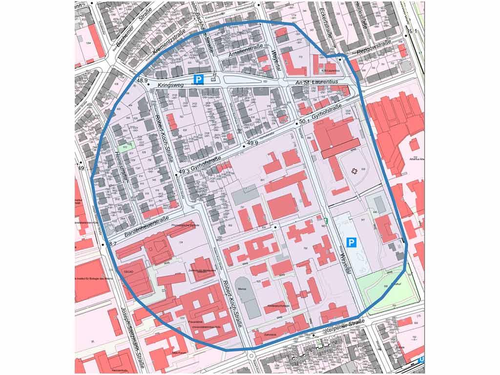 Evakuierungsbereich in Köln-Lindenthal wegen Bombenentschärfung. copyright: Stadt Köln