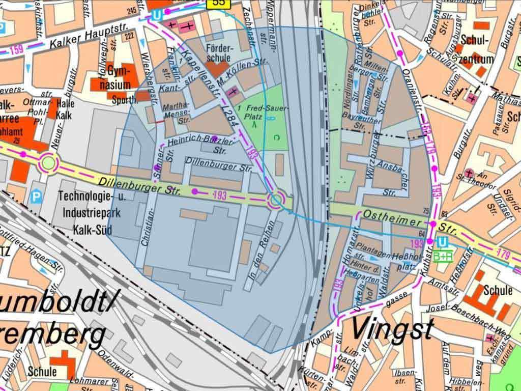 Der Evakuierugsbereich zum Bombenfund in Köln-Kalk copyright: Stadt Köln