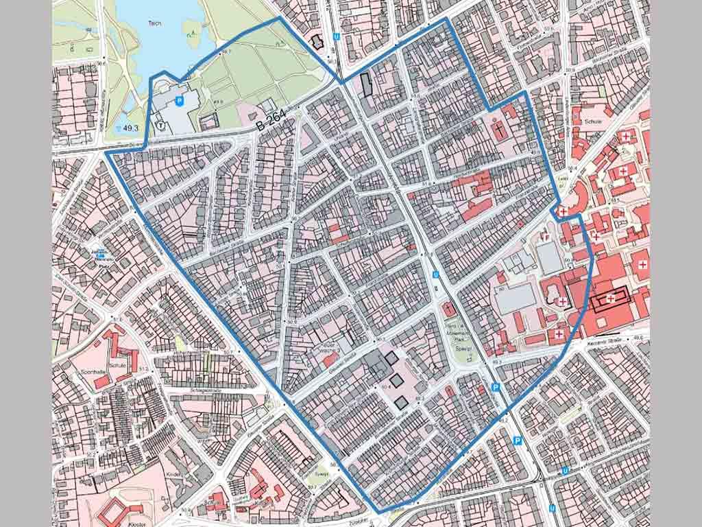 Das Evakuierungsgebiet in Köln-Lindenthal nach dem Fund einer Bombe aus dem Zweiten Weltkrieg. copyright: Stadt Köln