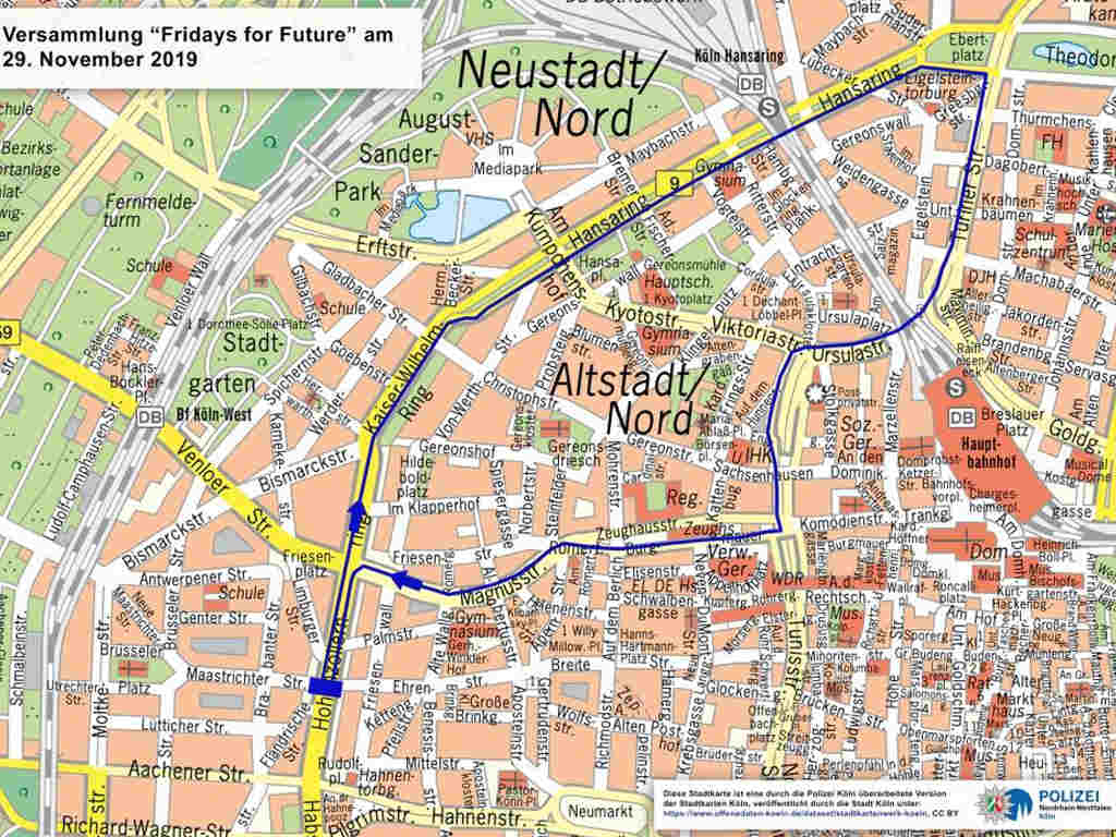 ridays for Future Demonstration in Köln: Die geplante Route der Teilnehmer. - copyright: Polizei Köln