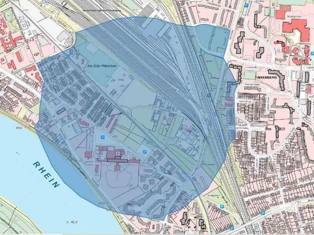 Der Evakuierungsbereich rund um den Fundort der Bombe in Köln-Porz ist auf 500 Meter festgelegt. copyright: Stadt Köln