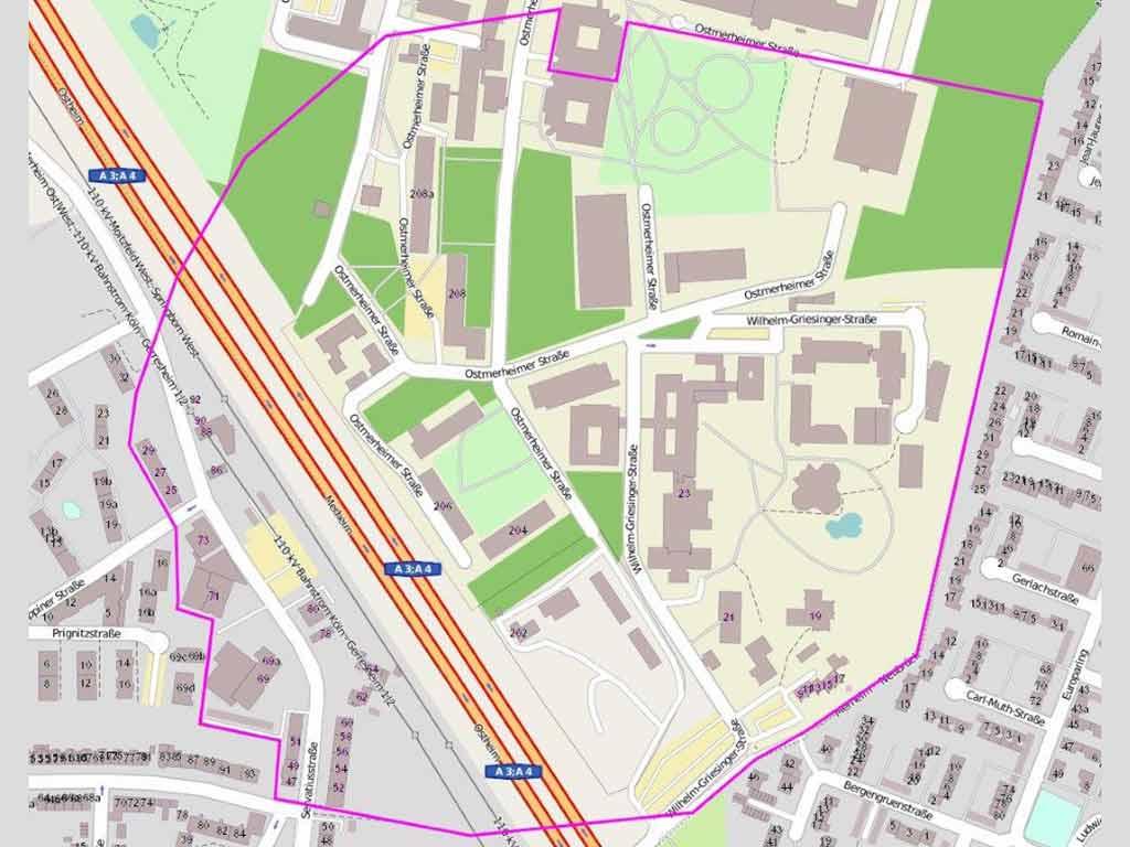 Bei einem möglichen Bombenfund in Köln-Merheim wurde bereits ein vorläufiger Evakuierungsbereich festgelegt. copyright Stadt Köln