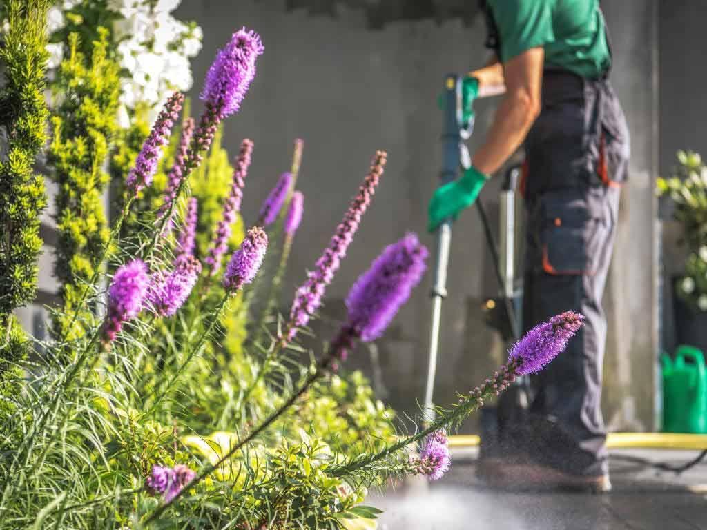 Zu den ersten Aufgaben gehört es, die Wege im Garten zu reinigen. copyright: Envato / duallogic