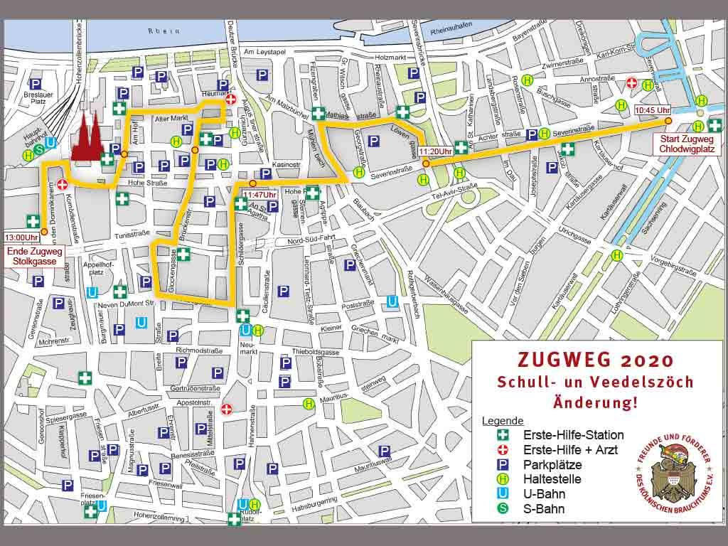 Die Strecke der Schull- und Veedelszöch 2020 in Köln inkl. aller Änderungen. copyright: Freunde und Förderer des Kölnischen Brauchtums e.V.