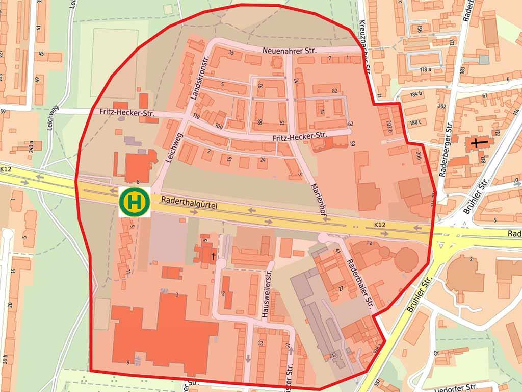 Der Evakuierungsbereich rund um den Fundort der Bombe in Köln-Zollstock wurde vorerst auf etwa 300 Meter festgelegt. copyright: Stadt Köln