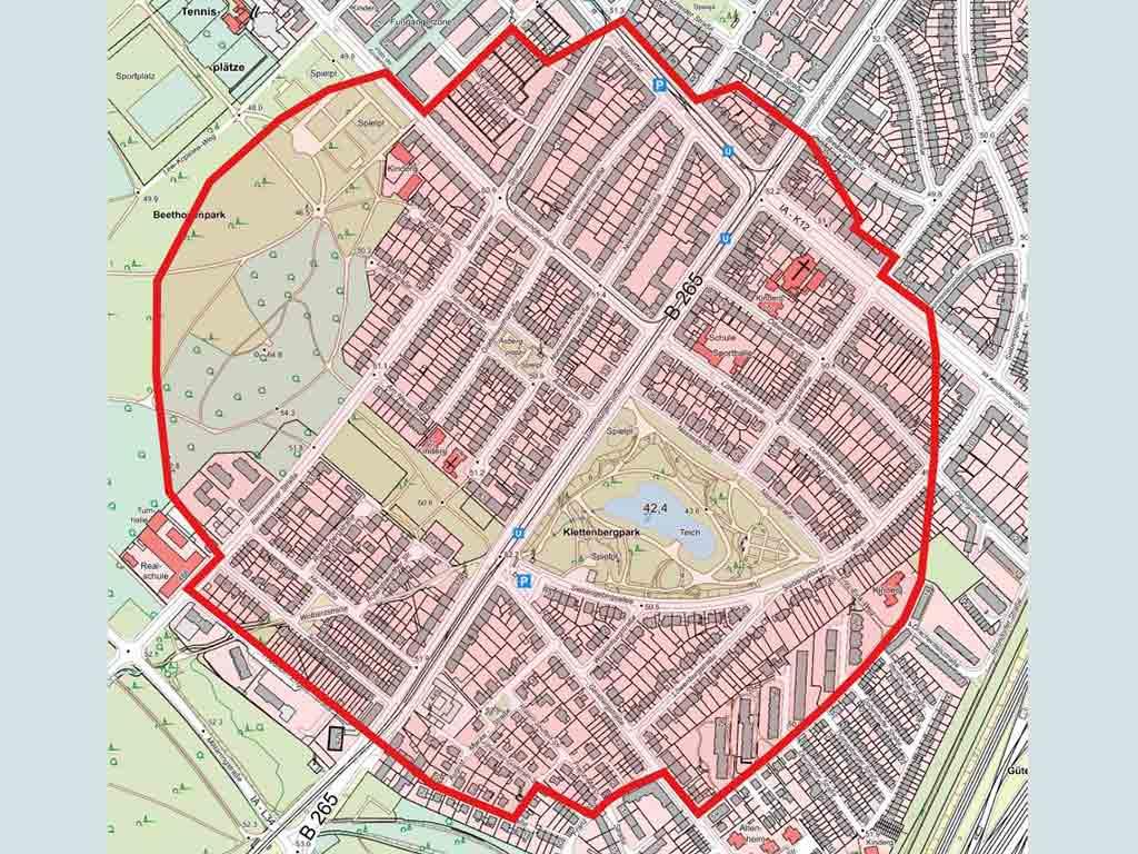 Der festgelegte Evakuierungsbereich rund um den Fundort des Bomben-Blindgängers in Köln-Klettenberg.