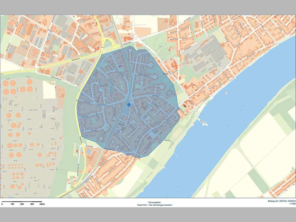 Das Evakuierungsgebiet rund um den Fundort der Bombe in Köln-Sürth.