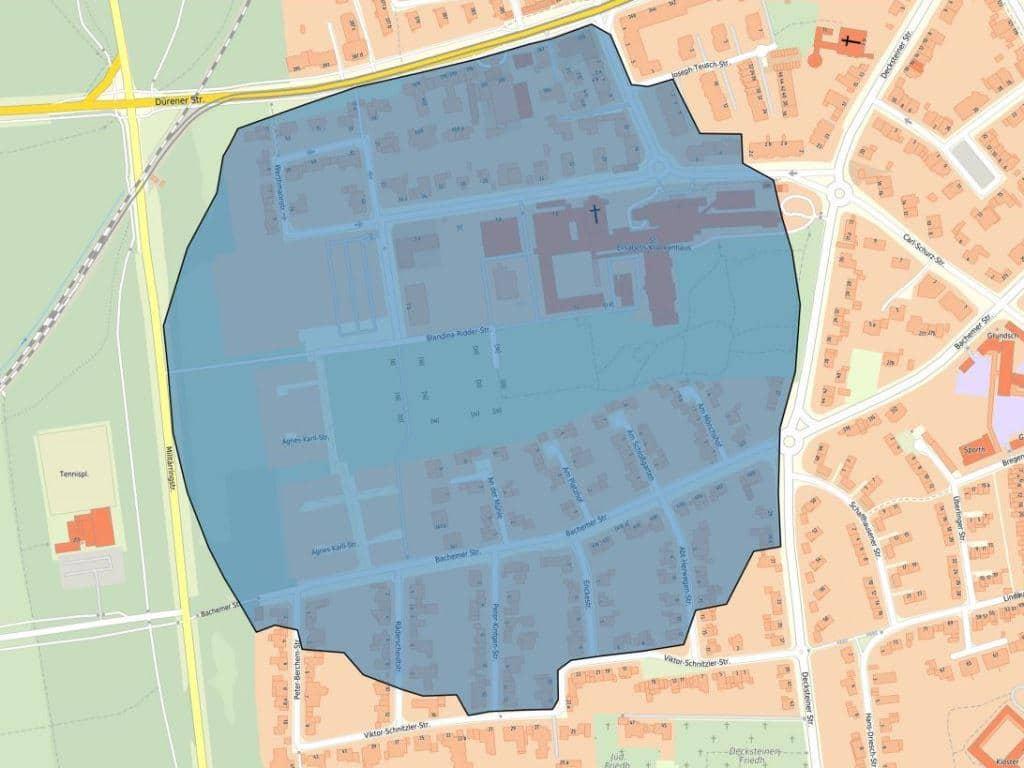 Der Evkuierungsbereich rund um den Fundort der Bombe in Köln-Lindenthal.