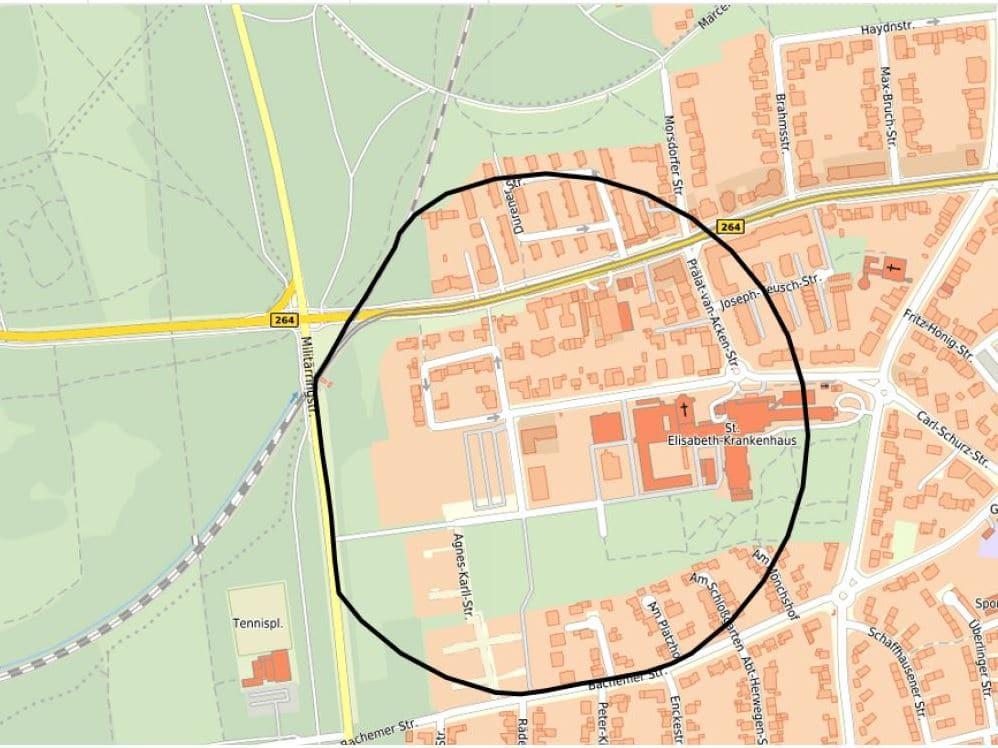 Der vorläufige Gefahrenbereich und Evakuierungsbereich in Köln-Lindenthal wurde mit einem Radius von 300 Metern festgelegt.